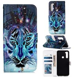 Ice Wolf 3D Relief Oil PU Leather Wallet Case for Mi Xiaomi Redmi Note 8
