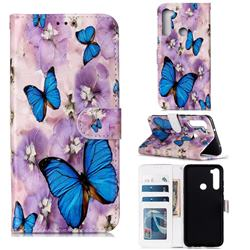 Purple Flowers Butterfly 3D Relief Oil PU Leather Wallet Case for Mi Xiaomi Redmi Note 8