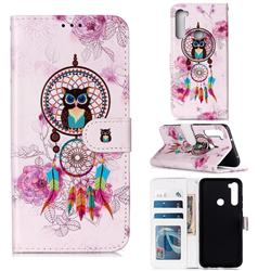 Wind Chimes Owl 3D Relief Oil PU Leather Wallet Case for Mi Xiaomi Redmi Note 8