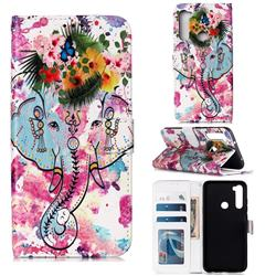 Flower Elephant 3D Relief Oil PU Leather Wallet Case for Mi Xiaomi Redmi Note 8