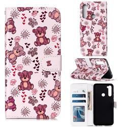 Cute Bear 3D Relief Oil PU Leather Wallet Case for Mi Xiaomi Redmi Note 8