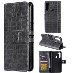 Luxury Crocodile Magnetic Leather Wallet Phone Case for Mi Xiaomi Redmi Note 8 - Gray