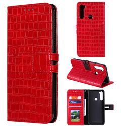 Luxury Crocodile Magnetic Leather Wallet Phone Case for Mi Xiaomi Redmi Note 8 - Red
