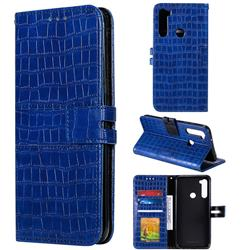 Luxury Crocodile Magnetic Leather Wallet Phone Case for Mi Xiaomi Redmi Note 8 - Blue