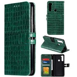 Luxury Crocodile Magnetic Leather Wallet Phone Case for Mi Xiaomi Redmi Note 8 - Green