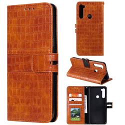 Luxury Crocodile Magnetic Leather Wallet Phone Case for Mi Xiaomi Redmi Note 8 - Brown