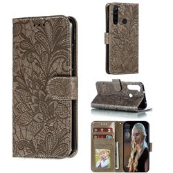 Intricate Embossing Lace Jasmine Flower Leather Wallet Case for Mi Xiaomi Redmi Note 8 - Gray