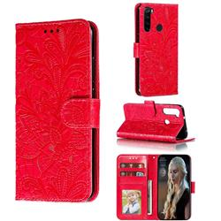 Intricate Embossing Lace Jasmine Flower Leather Wallet Case for Mi Xiaomi Redmi Note 8 - Red