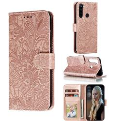 Intricate Embossing Lace Jasmine Flower Leather Wallet Case for Mi Xiaomi Redmi Note 8 - Rose Gold
