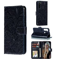 Intricate Embossing Lace Jasmine Flower Leather Wallet Case for Mi Xiaomi Redmi Note 8 - Dark Blue