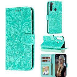 Intricate Embossing Lace Jasmine Flower Leather Wallet Case for Mi Xiaomi Redmi Note 8 - Green