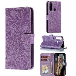Intricate Embossing Lace Jasmine Flower Leather Wallet Case for Mi Xiaomi Redmi Note 8 - Purple