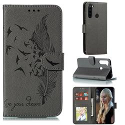 Intricate Embossing Lychee Feather Bird Leather Wallet Case for Mi Xiaomi Redmi Note 8 - Gray