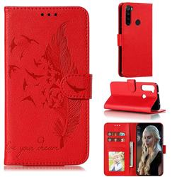 Intricate Embossing Lychee Feather Bird Leather Wallet Case for Mi Xiaomi Redmi Note 8 - Red