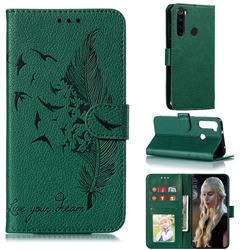 Intricate Embossing Lychee Feather Bird Leather Wallet Case for Mi Xiaomi Redmi Note 8 - Green