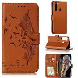 Intricate Embossing Lychee Feather Bird Leather Wallet Case for Mi Xiaomi Redmi Note 8 - Brown