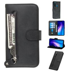 Retro Luxury Zipper Leather Phone Wallet Case for Mi Xiaomi Redmi Note 8 - Black