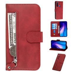 Retro Luxury Zipper Leather Phone Wallet Case for Mi Xiaomi Redmi Note 8 - Red