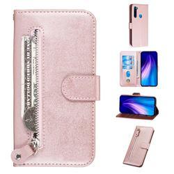 Retro Luxury Zipper Leather Phone Wallet Case for Mi Xiaomi Redmi Note 8 - Pink