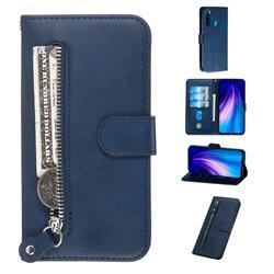 Retro Luxury Zipper Leather Phone Wallet Case for Mi Xiaomi Redmi Note 8 - Blue