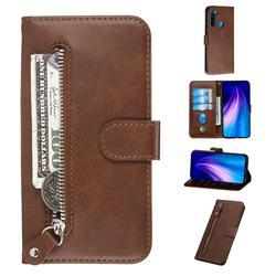 Retro Luxury Zipper Leather Phone Wallet Case for Mi Xiaomi Redmi Note 8 - Brown