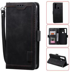 Luxury Retro Stitching Leather Wallet Phone Case for Mi Xiaomi Redmi Note 8 - Black