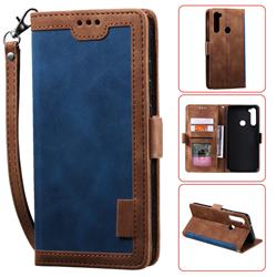 Luxury Retro Stitching Leather Wallet Phone Case for Mi Xiaomi Redmi Note 8 - Dark Blue