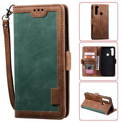Luxury Retro Stitching Leather Wallet Phone Case for Mi Xiaomi Redmi Note 8 - Dark Green