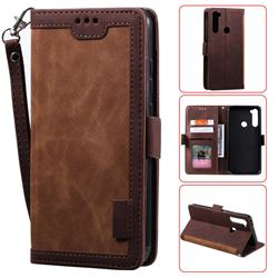 Luxury Retro Stitching Leather Wallet Phone Case for Mi Xiaomi Redmi Note 8 - Dark Brown