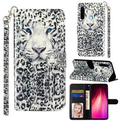 White Leopard 3D Leather Phone Holster Wallet Case for Mi Xiaomi Redmi Note 8