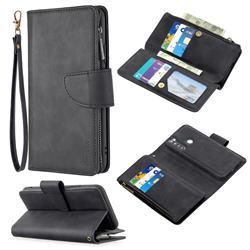 Binfen Color BF02 Sensory Buckle Zipper Multifunction Leather Phone Wallet for Mi Xiaomi Redmi Note 8 - Black