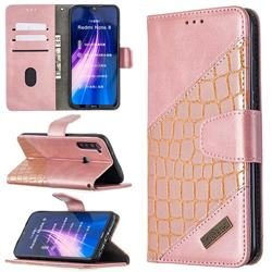 BinfenColor BF04 Color Block Stitching Crocodile Leather Case Cover for Mi Xiaomi Redmi Note 8 - Rose Gold