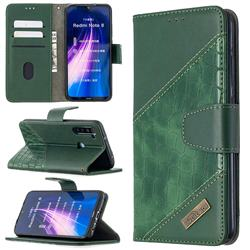 BinfenColor BF04 Color Block Stitching Crocodile Leather Case Cover for Mi Xiaomi Redmi Note 8 - Green
