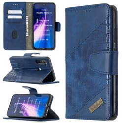 BinfenColor BF04 Color Block Stitching Crocodile Leather Case Cover for Mi Xiaomi Redmi Note 8 - Blue