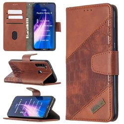BinfenColor BF04 Color Block Stitching Crocodile Leather Case Cover for Mi Xiaomi Redmi Note 8 - Brown