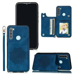 Luxury Mandala Multi-function Magnetic Card Slots Stand Leather Back Cover for Mi Xiaomi Redmi Note 8 - Blue