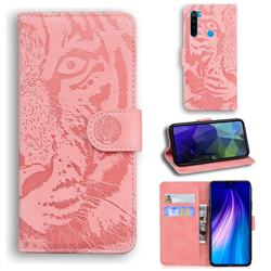 Intricate Embossing Tiger Face Leather Wallet Case for Mi Xiaomi Redmi Note 8 - Pink