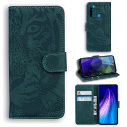 Intricate Embossing Tiger Face Leather Wallet Case for Mi Xiaomi Redmi Note 8 - Green