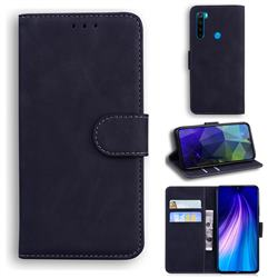 Retro Classic Skin Feel Leather Wallet Phone Case for Mi Xiaomi Redmi Note 8 - Black