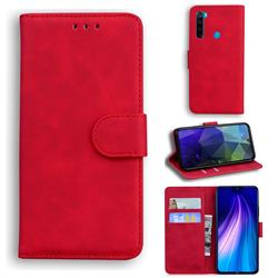 Retro Classic Skin Feel Leather Wallet Phone Case for Mi Xiaomi Redmi Note 8 - Red