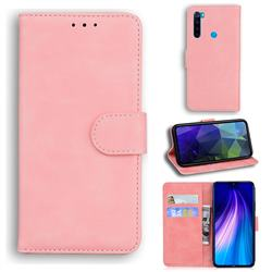 Retro Classic Skin Feel Leather Wallet Phone Case for Mi Xiaomi Redmi Note 8 - Pink