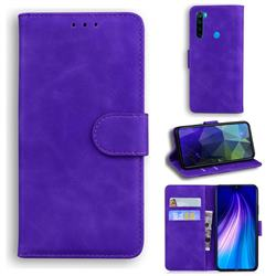 Retro Classic Skin Feel Leather Wallet Phone Case for Mi Xiaomi Redmi Note 8 - Purple