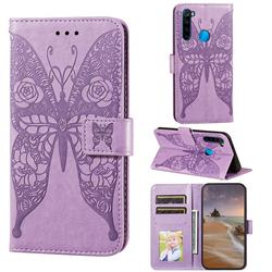 Intricate Embossing Rose Flower Butterfly Leather Wallet Case for Mi Xiaomi Redmi Note 8 - Purple