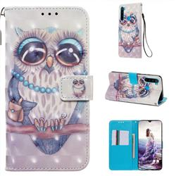 Sweet Gray Owl 3D Painted Leather Wallet Case for Mi Xiaomi Redmi Note 8