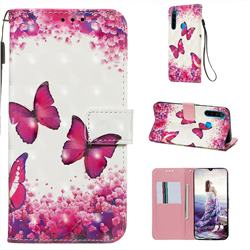 Rose Butterfly 3D Painted Leather Wallet Case for Mi Xiaomi Redmi Note 8