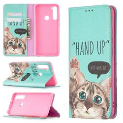 Hand Up Cat Slim Magnetic Attraction Wallet Flip Cover for Mi Xiaomi Redmi Note 8
