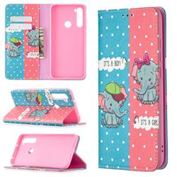 Elephant Boy and Girl Slim Magnetic Attraction Wallet Flip Cover for Mi Xiaomi Redmi Note 8