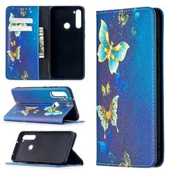 Gold Butterfly Slim Magnetic Attraction Wallet Flip Cover for Mi Xiaomi Redmi Note 8