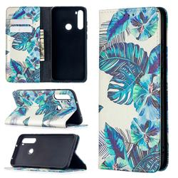 Blue Leaf Slim Magnetic Attraction Wallet Flip Cover for Mi Xiaomi Redmi Note 8