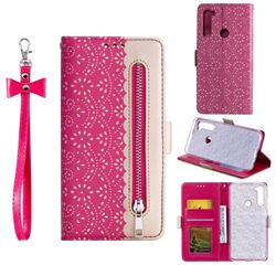 Luxury Lace Zipper Stitching Leather Phone Wallet Case for Mi Xiaomi Redmi Note 8 - Rose